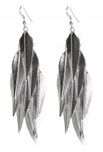 Silver Feather Leaf Dangle
