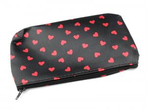 Black Makeup Bag with Red Hearts